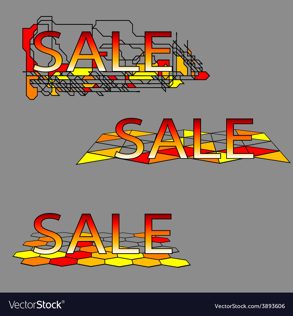 Set of three sale text on geometrical grid vector | Price: 1 Credit (USD $1)