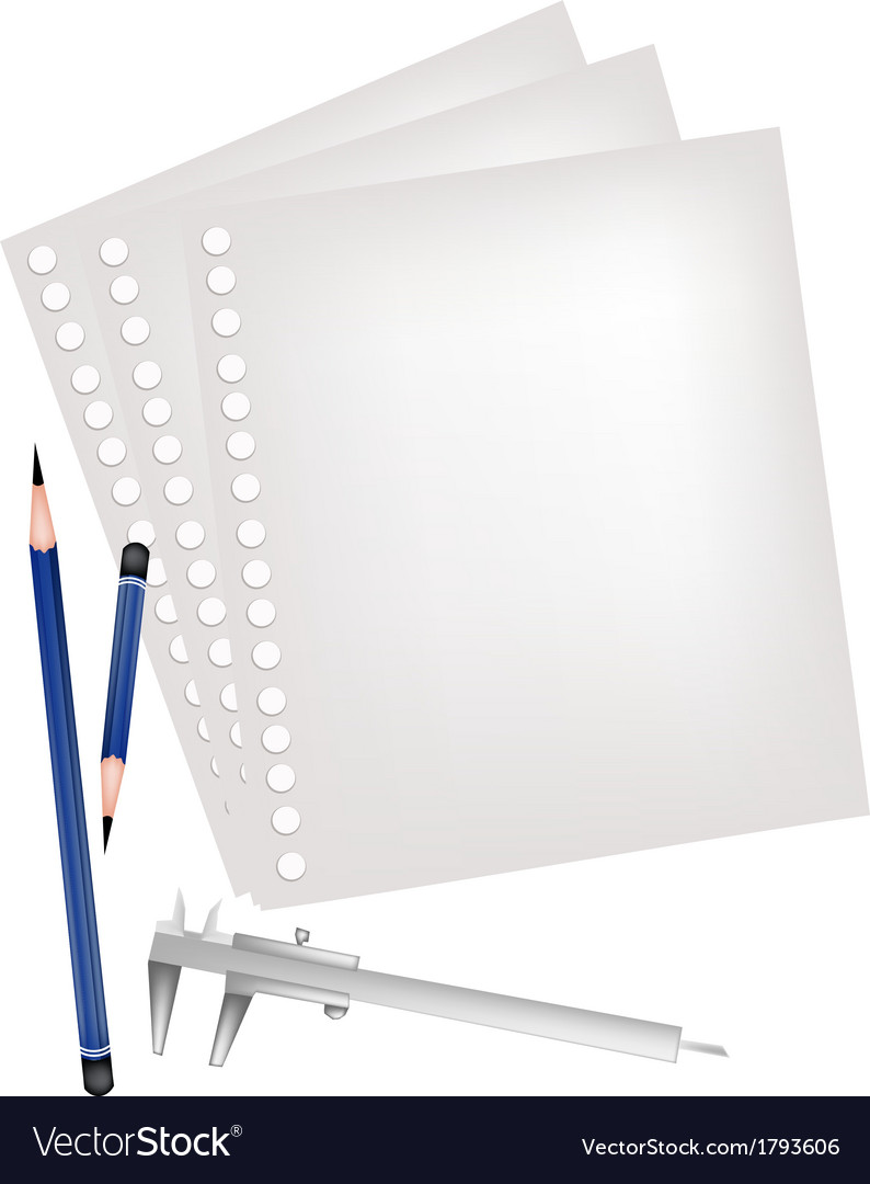 Two pencils and caliper with blank page vector | Price: 1 Credit (USD $1)