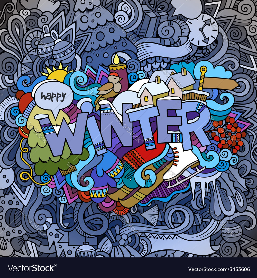 Winter hand lettering and doodles elements vector | Price: 1 Credit (USD $1)
