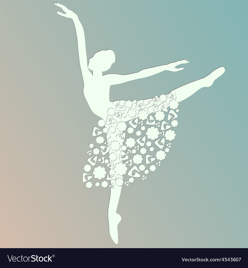 Ballerina dancing white silhouette isolated vector | Price: 1 Credit (USD $1)