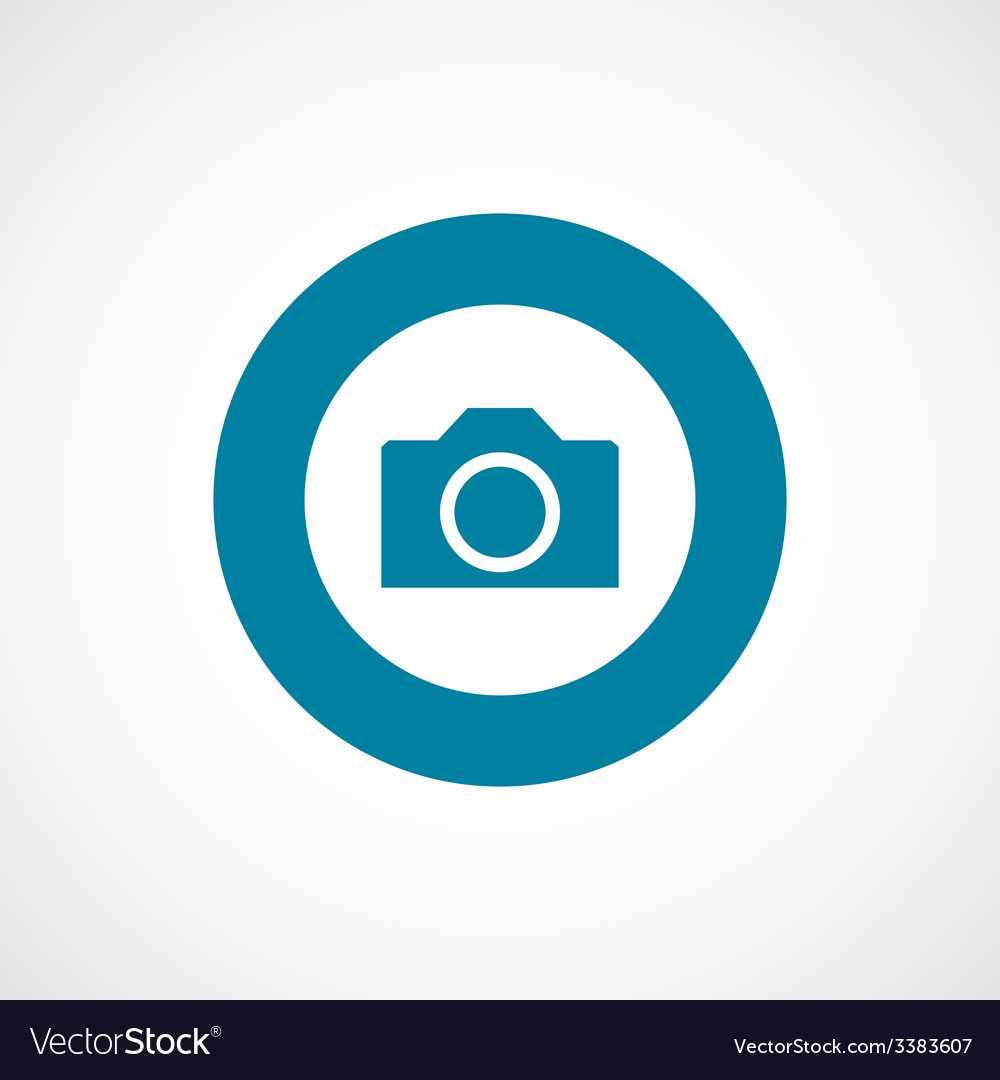 Camera bold blue border circle icon vector | Price: 1 Credit (USD $1)
