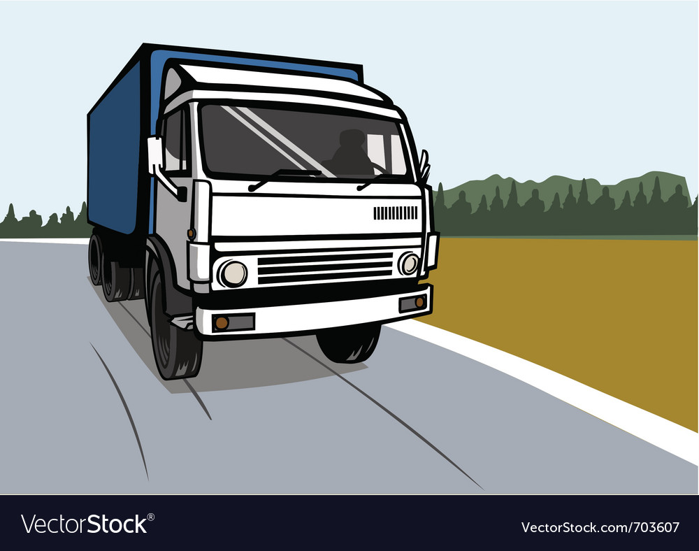 Cargo truck on the road vector | Price: 1 Credit (USD $1)