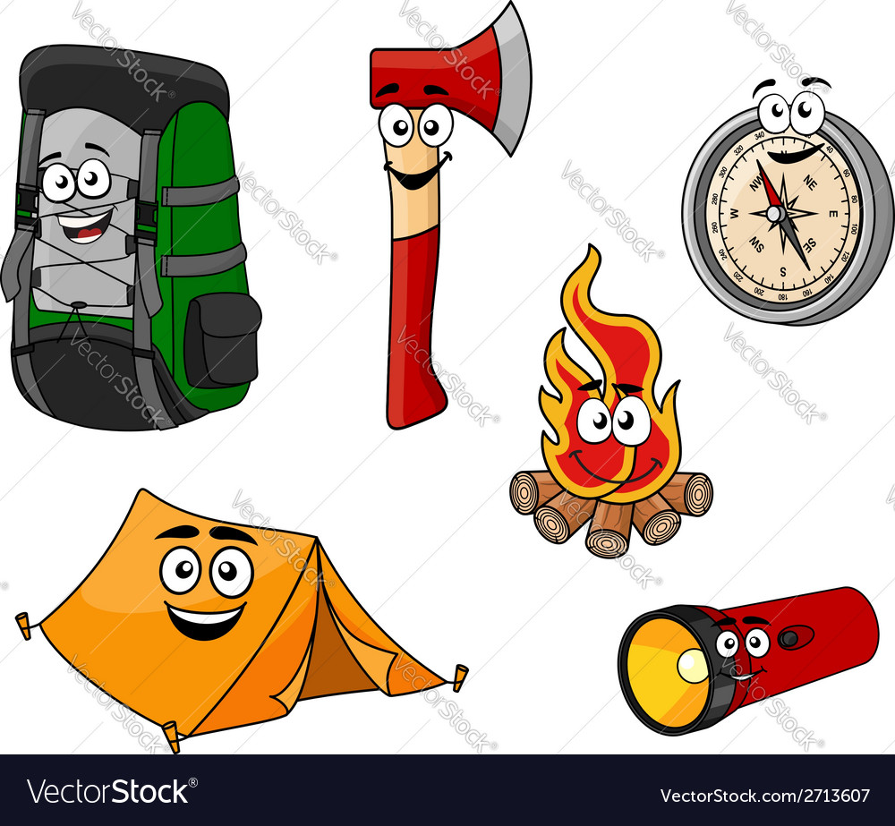 Cartoon camping and travel objects vector | Price: 1 Credit (USD $1)