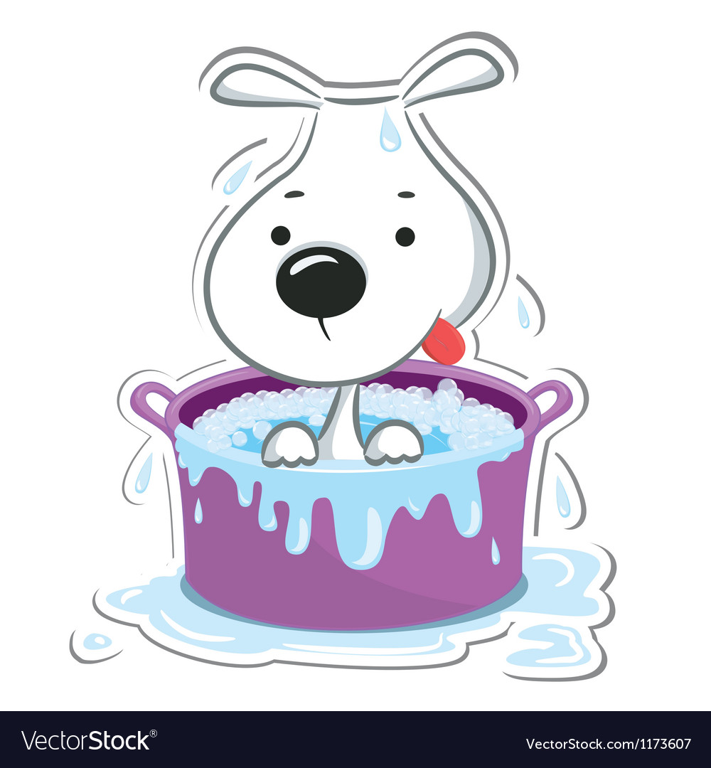 Dog in bath vector | Price: 1 Credit (USD $1)