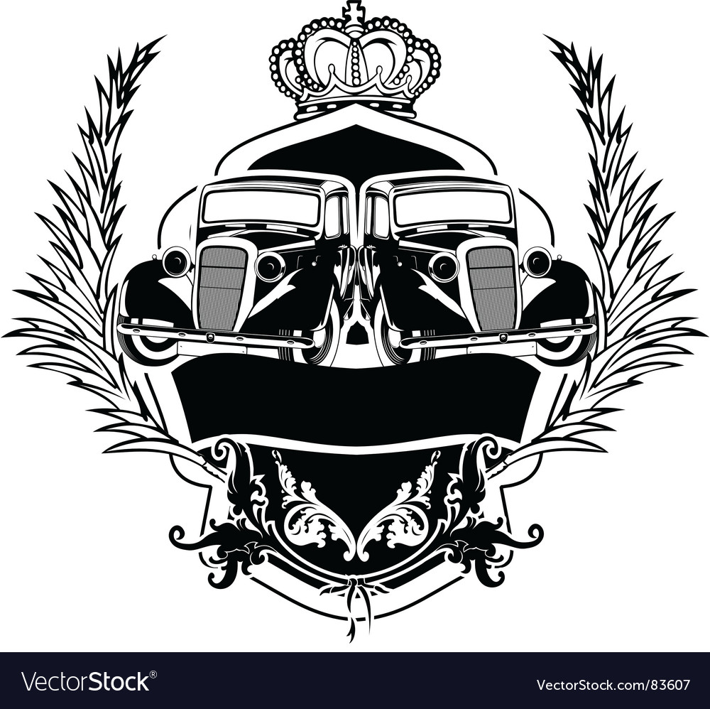 Old car crest vector | Price: 1 Credit (USD $1)