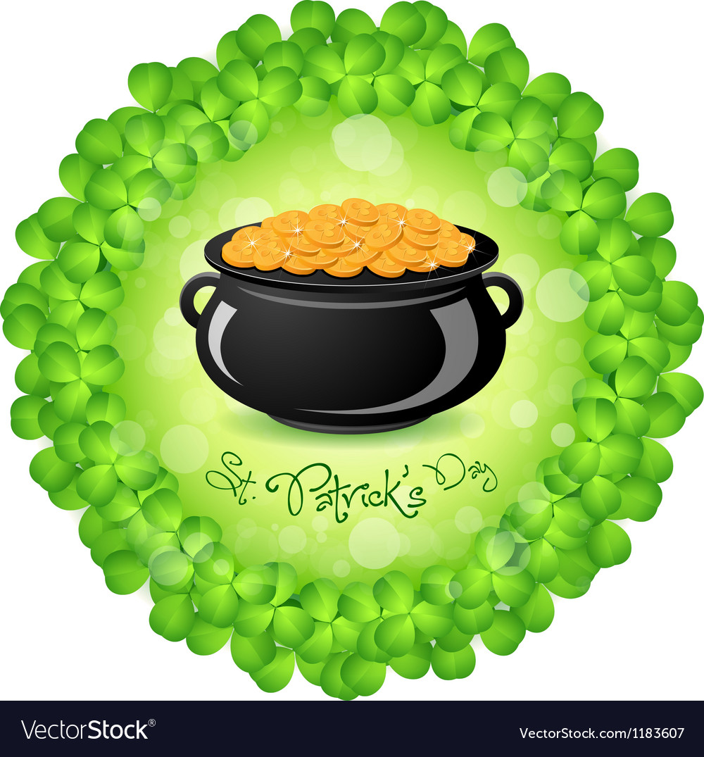Patricks day cauldron with gold coins vector | Price: 1 Credit (USD $1)