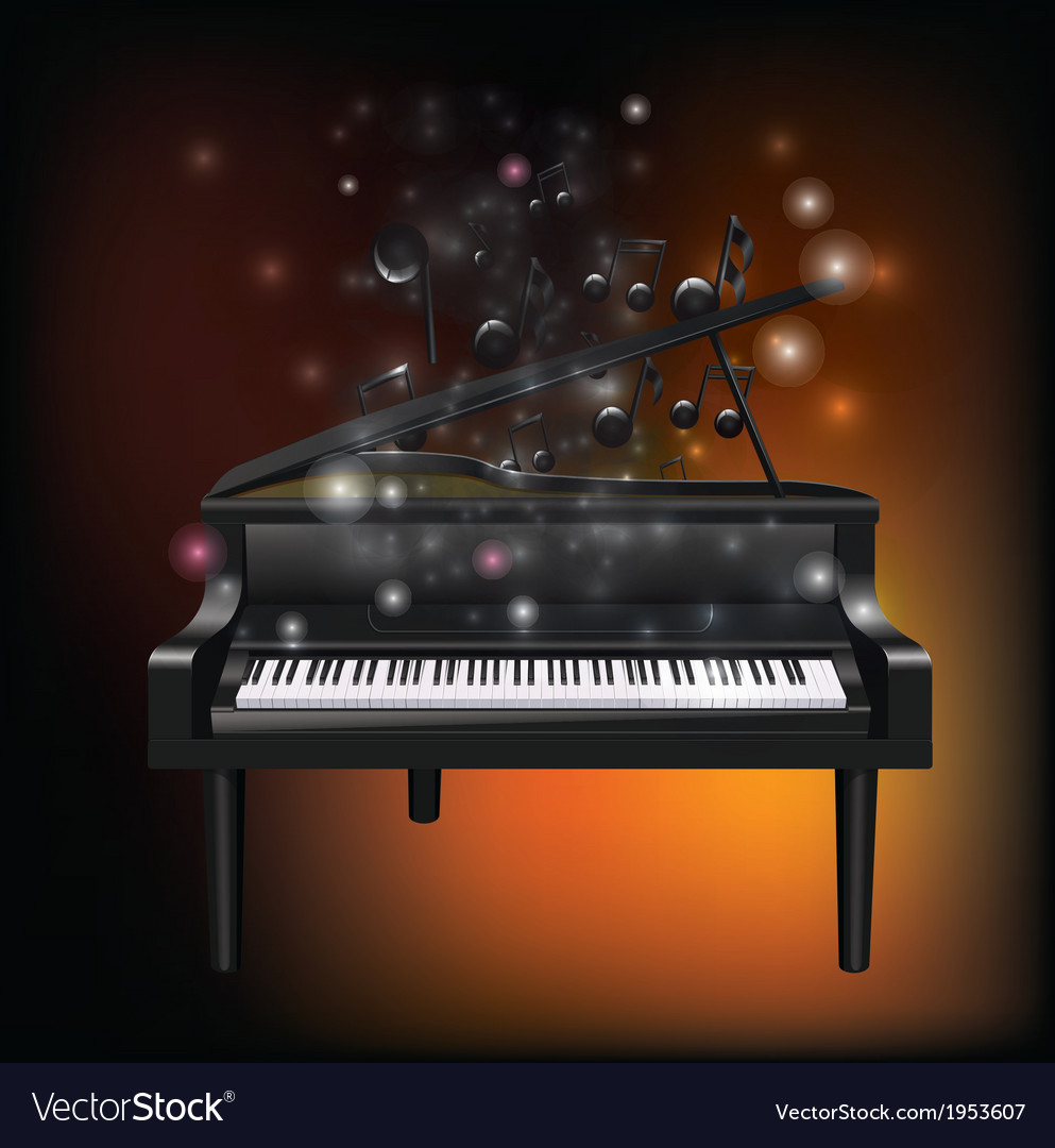 Piano with melody vector | Price: 1 Credit (USD $1)