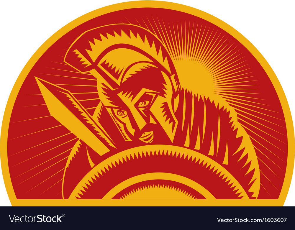 Roman soldier or gladiator with sword and shield vector | Price: 1 Credit (USD $1)