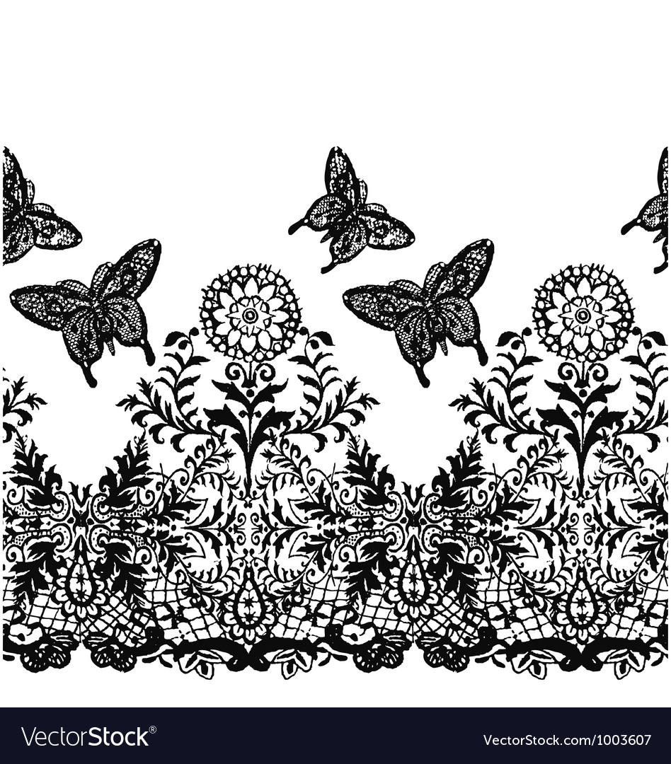Seamless butterfly lace fabric pattern vector | Price: 1 Credit (USD $1)