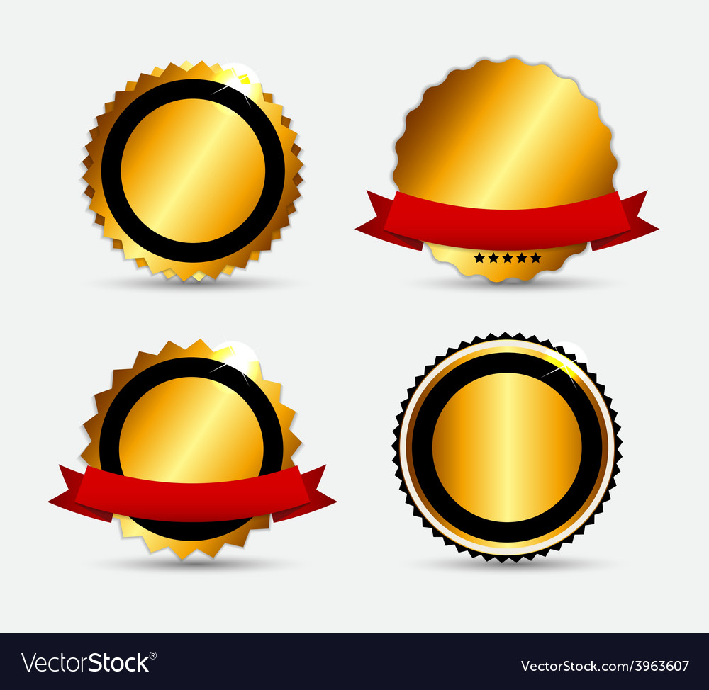 Set of gold label template vector | Price: 1 Credit (USD $1)