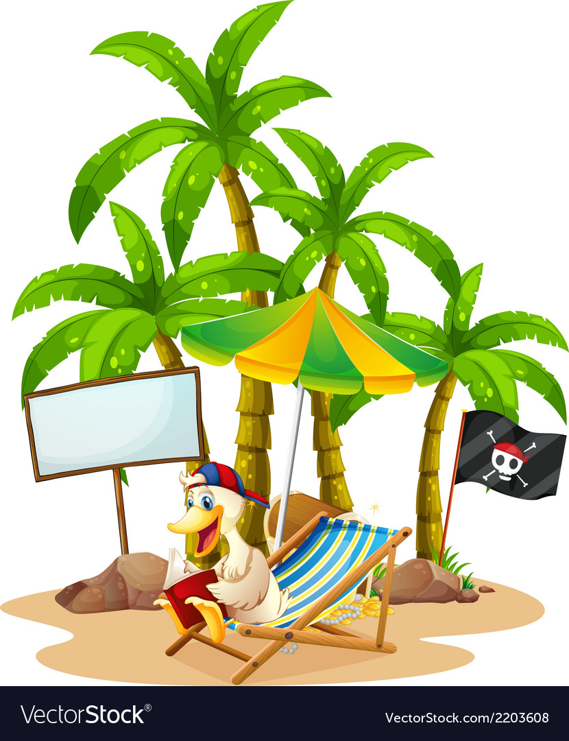 A duck relaxing at the beach near the empty vector | Price: 3 Credit (USD $3)