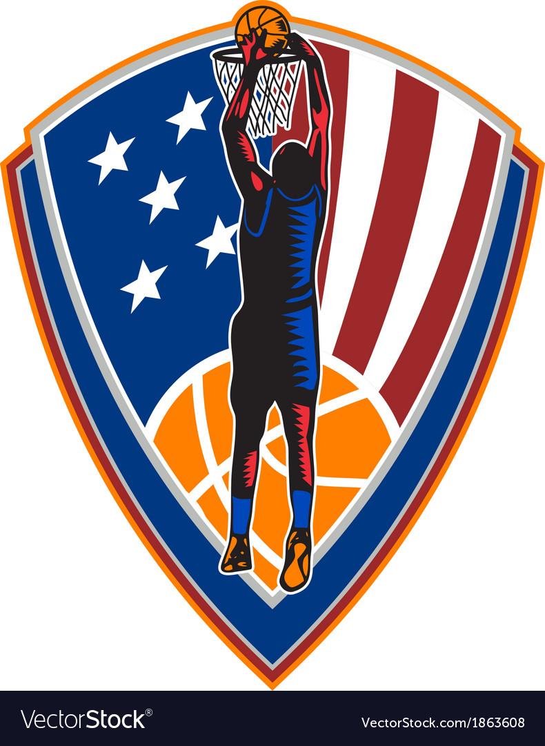 American basketball player dunk ball shield retro vector | Price: 1 Credit (USD $1)