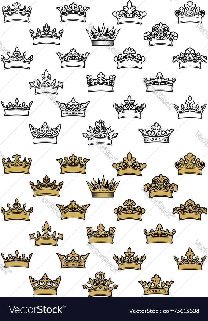 Antique crown icons vector | Price: 1 Credit (USD $1)
