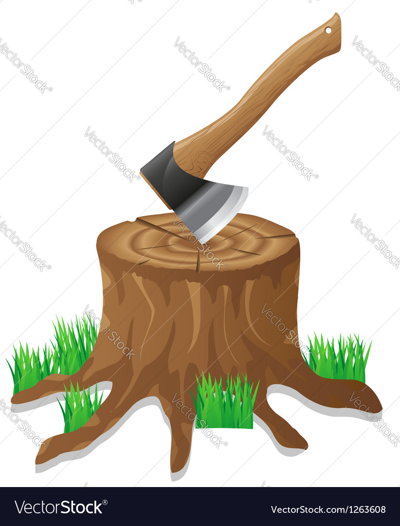 Axe in the stump vector | Price: 1 Credit (USD $1)
