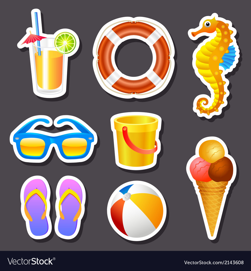 Beach stickers vector | Price: 1 Credit (USD $1)