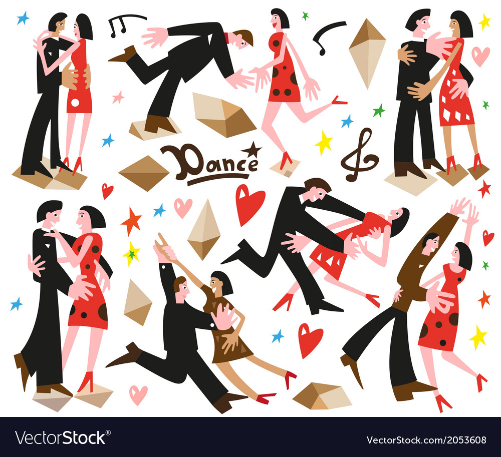 Dancing couples -cartoons vector | Price: 1 Credit (USD $1)