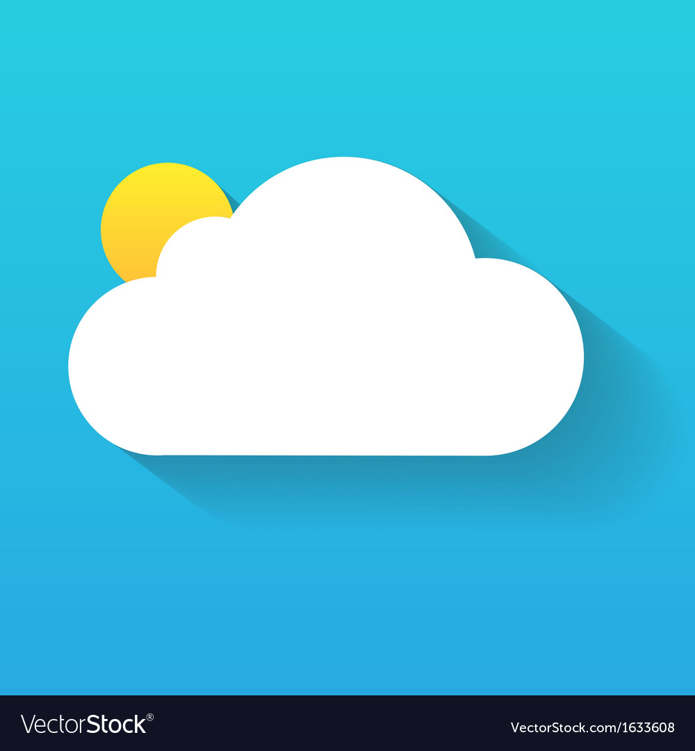 Day cloud and sun isolated on blue vector | Price: 1 Credit (USD $1)