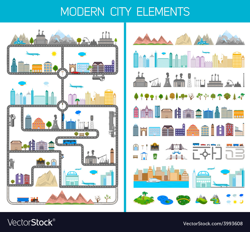 Elements of the modern city or village vector | Price: 1 Credit (USD $1)