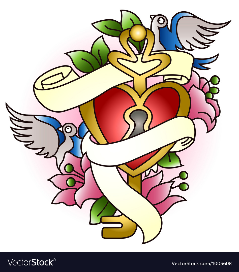 Floral heart with bird tattoo vector | Price: 1 Credit (USD $1)