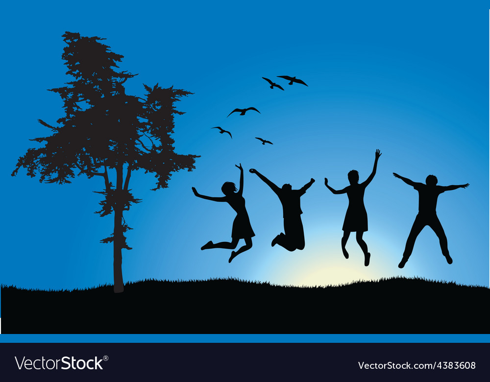 Four friends jumping on field near tree blue sky vector | Price: 1 Credit (USD $1)