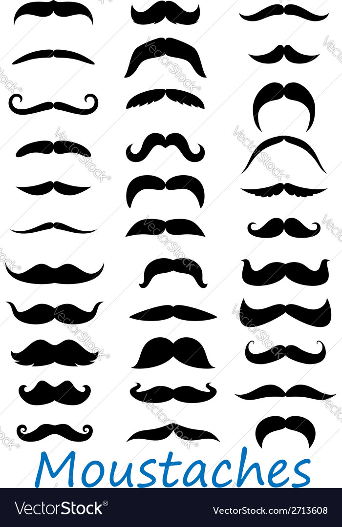 Moustache icons set vector | Price: 1 Credit (USD $1)