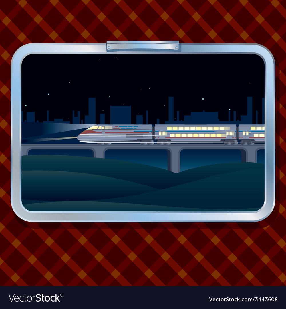 Night train and landscape vector | Price: 1 Credit (USD $1)