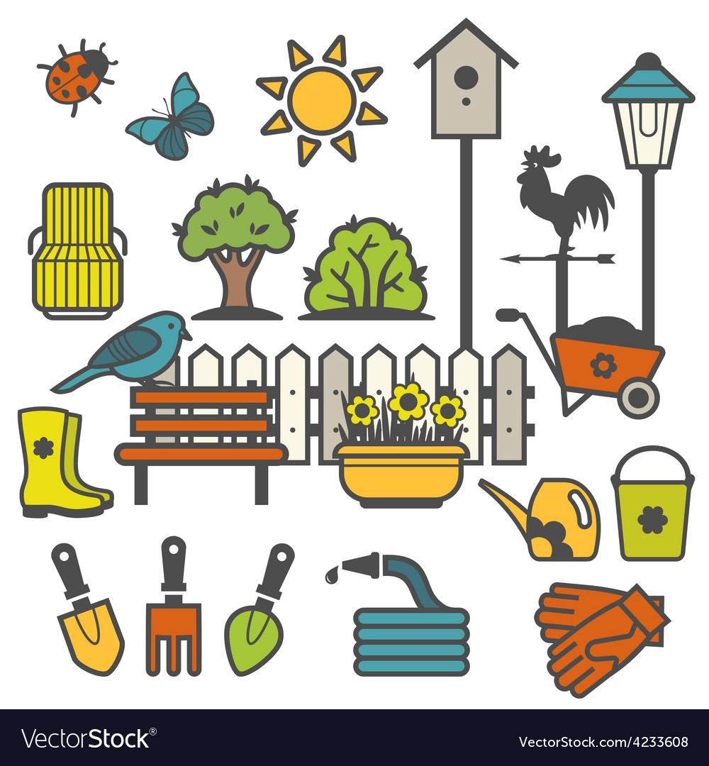 Rural landscape with gardening concept vector | Price: 1 Credit (USD $1)