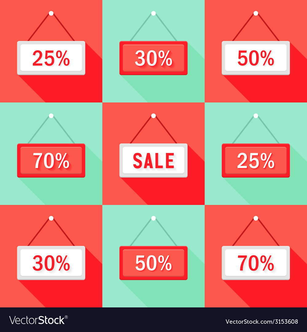 Sale 25 30 50 and 70 sign icons set vector | Price: 1 Credit (USD $1)