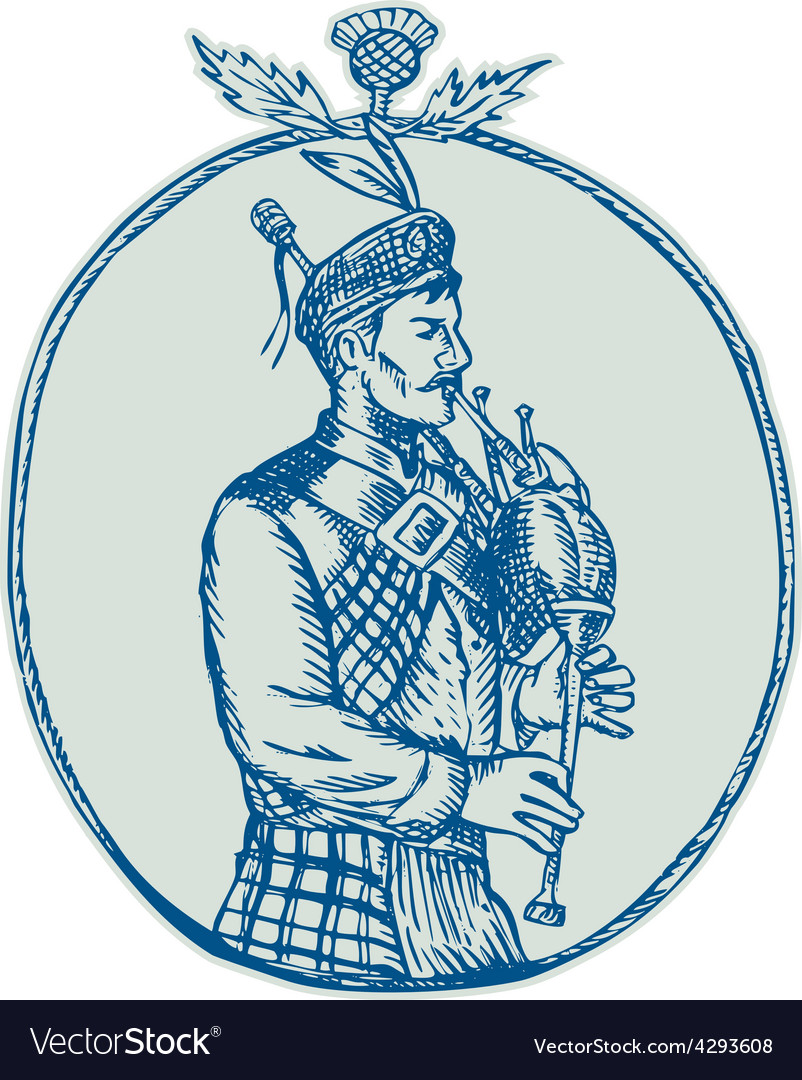 Scotsman bagpiper playing bagpipes etching vector   Price: 1 Credit (USD $1)