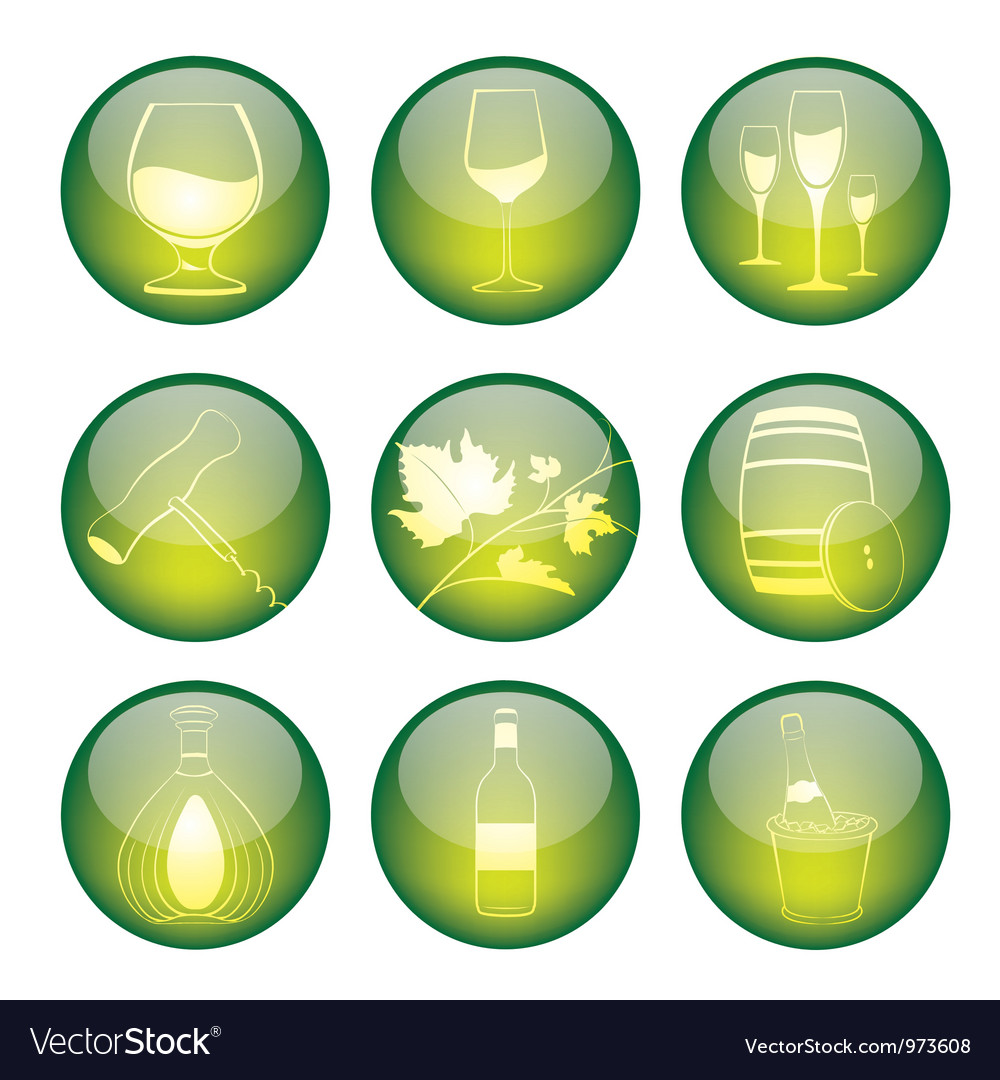 Set of winery sphere icons vector | Price: 1 Credit (USD $1)