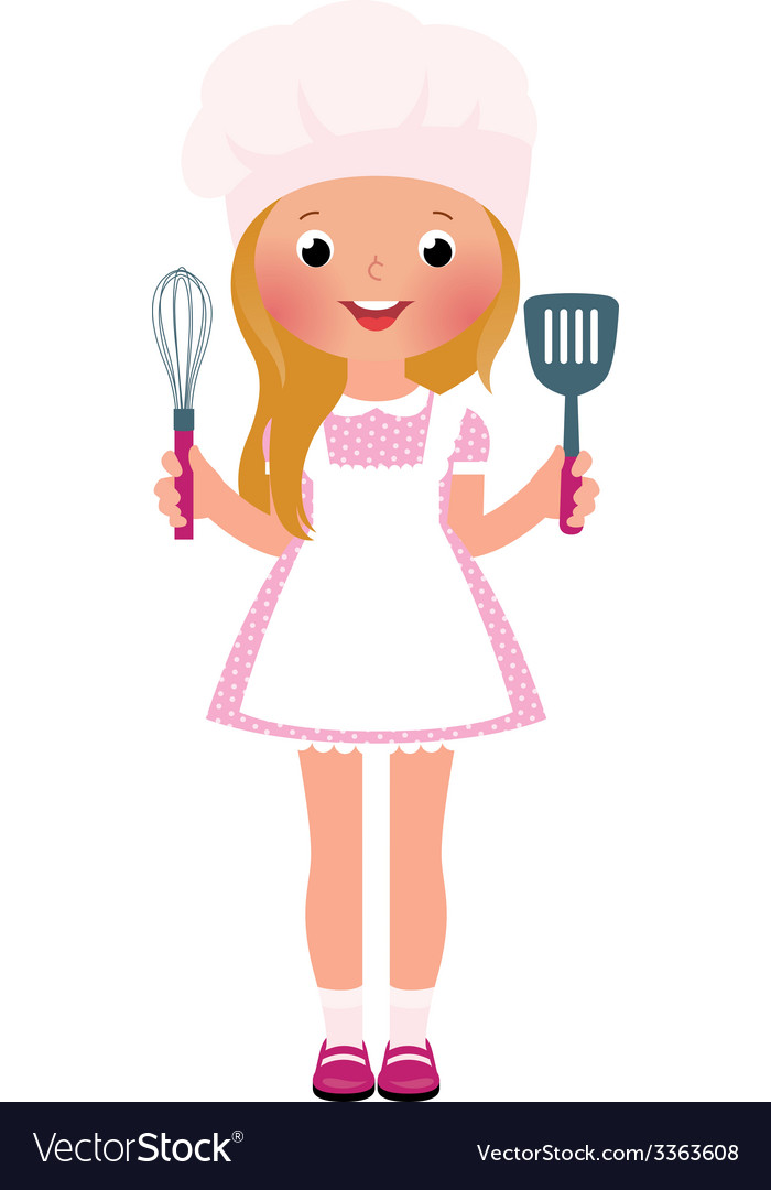 Smiling girl chef vector | Price: 1 Credit (USD $1)