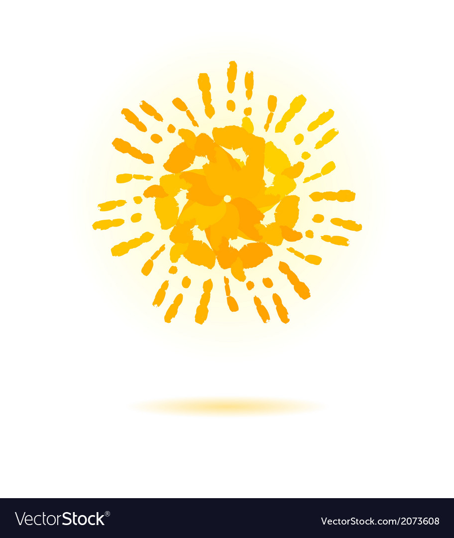 Sun made of handprint concept for your design vector | Price: 1 Credit (USD $1)