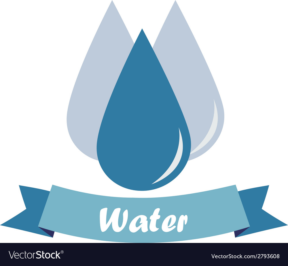 Three drops of water and a blue ribbon with text o vector | Price: 1 Credit (USD $1)