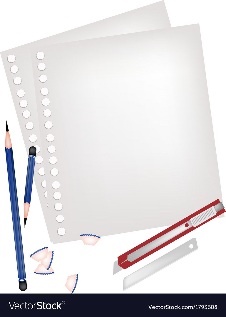 Two pencils and knife with blank page vector | Price: 1 Credit (USD $1)