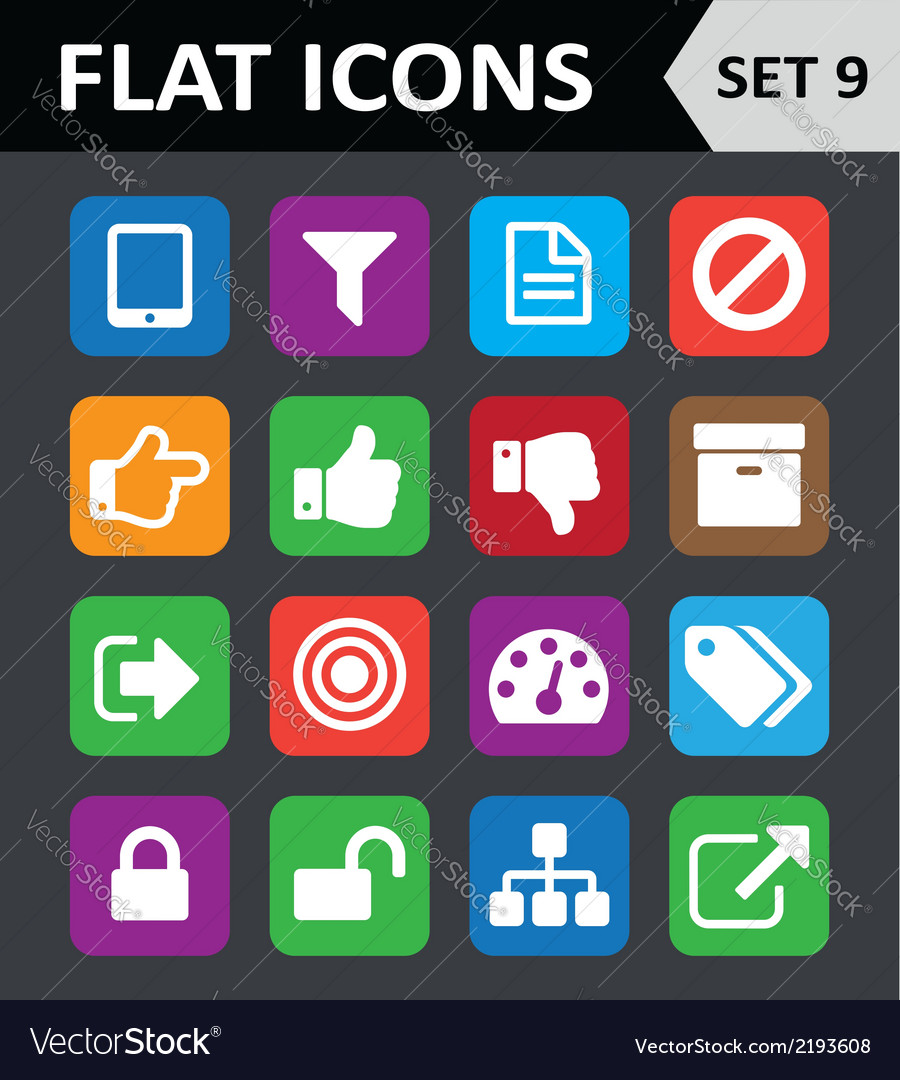 Universal colorful flat icons set 9 vector | Price: 1 Credit (USD $1)