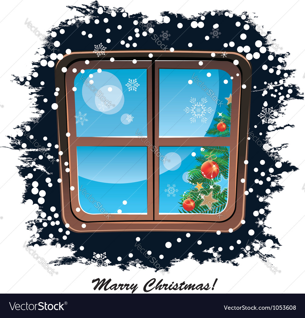 Window snowy night christmas background vector | Price: 1 Credit (USD $1)