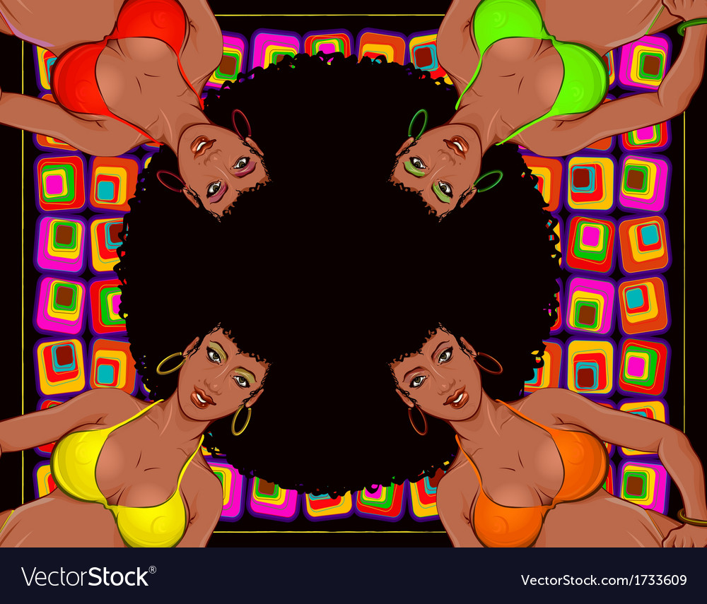 Afro retro girls vector | Price: 1 Credit (USD $1)