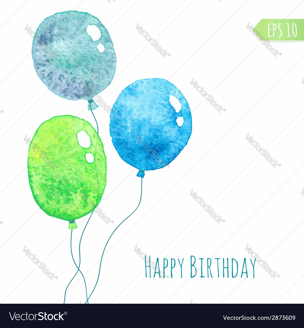 Card with colored watercolor paint balloons vector | Price: 1 Credit (USD $1)