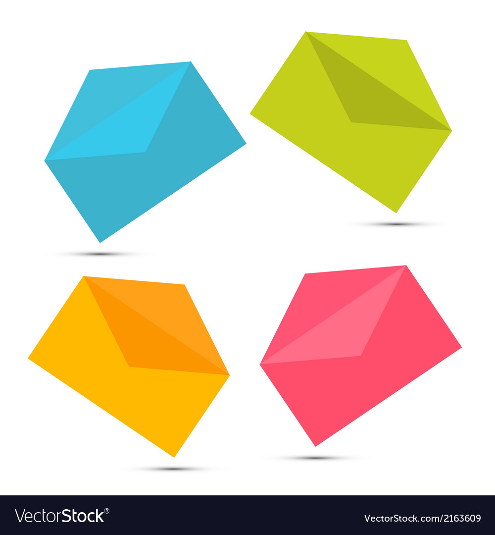 Colorful paper envelope icons set isolated on vector | Price: 1 Credit (USD $1)