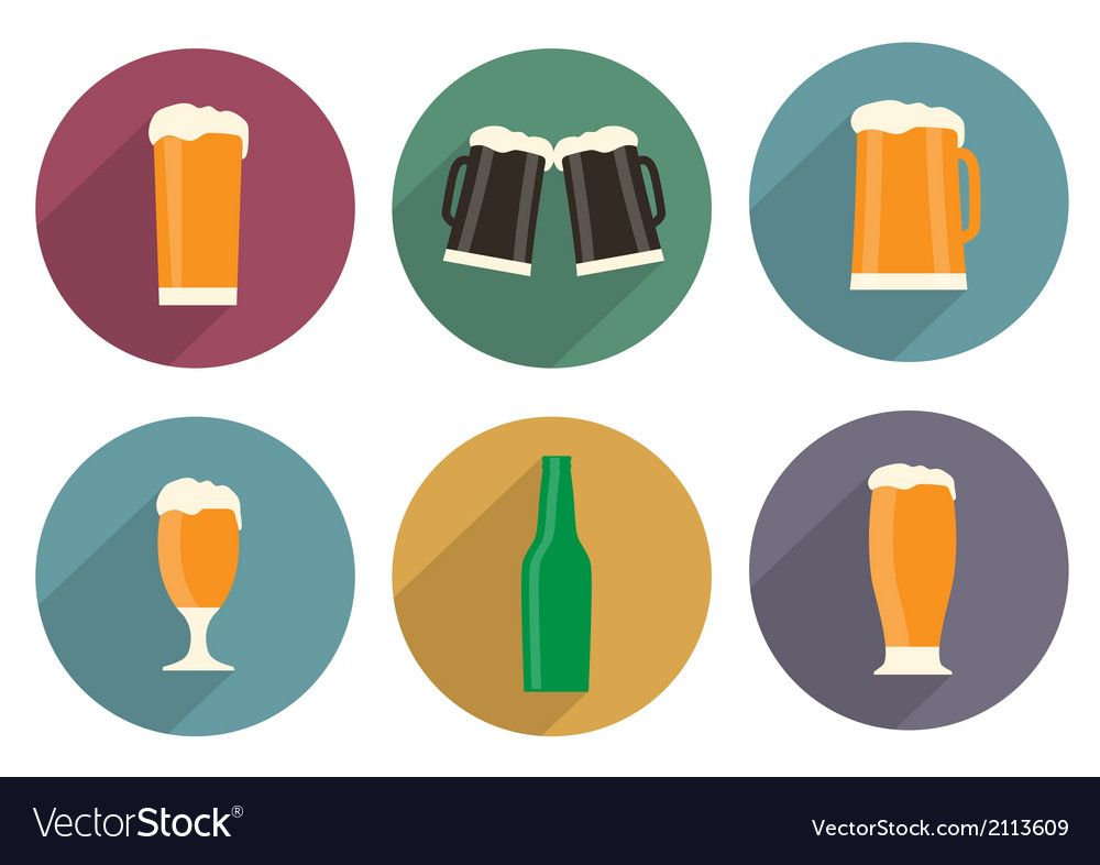 Flat beer icons with long shadow vector | Price: 1 Credit (USD $1)