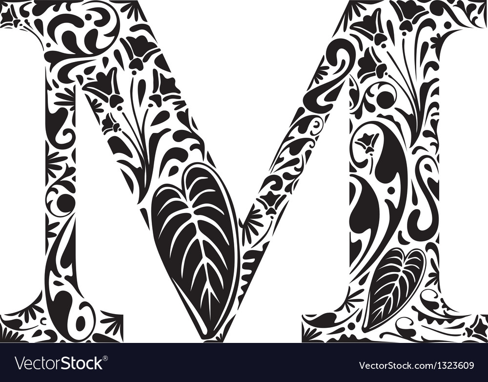 Floral m vector | Price: 1 Credit (USD $1)