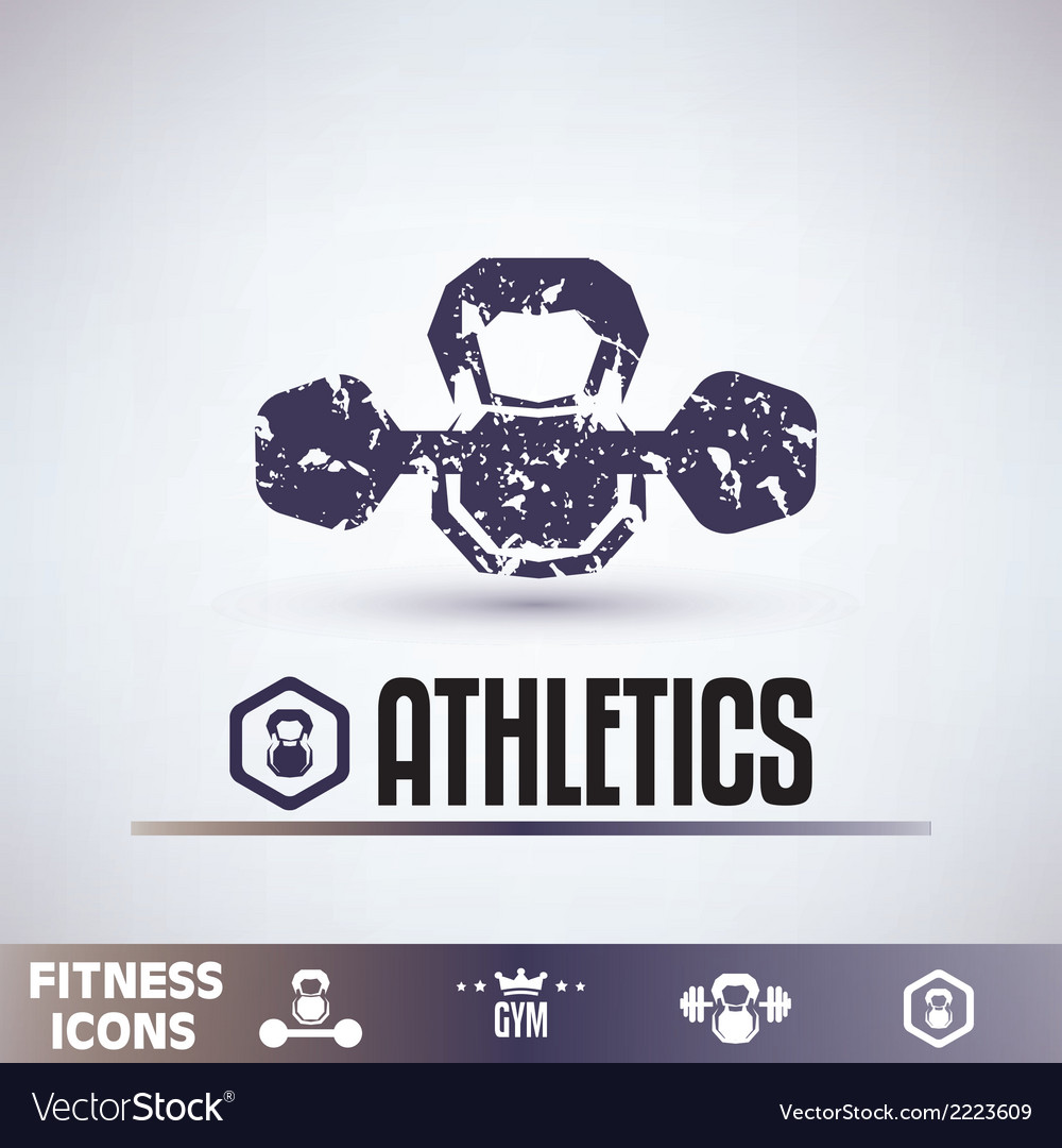Gym icons fitness grunge emblems collection vector | Price: 1 Credit (USD $1)