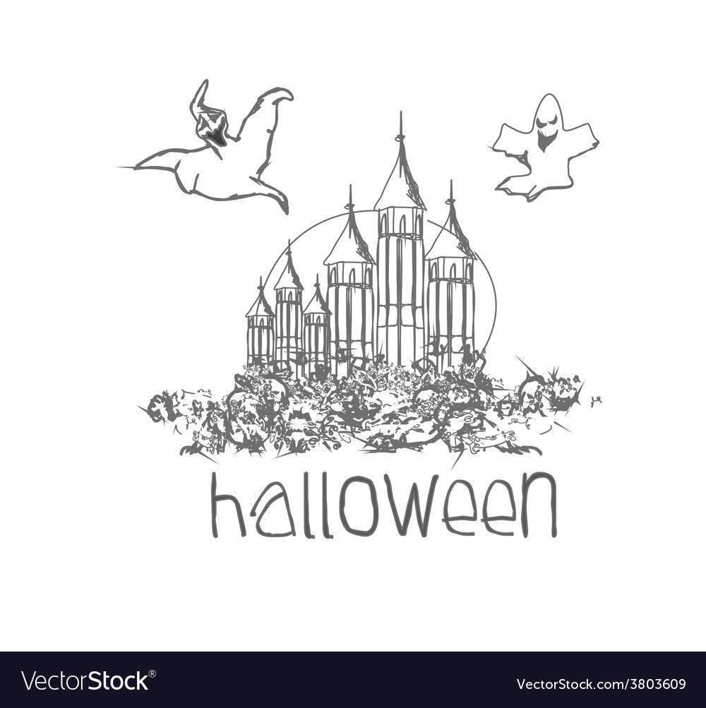 Halloween haunted house doodles vector | Price: 1 Credit (USD $1)