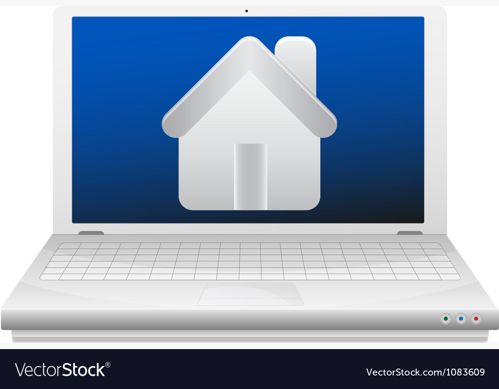 Laptop and house real estate concept vector | Price: 1 Credit (USD $1)