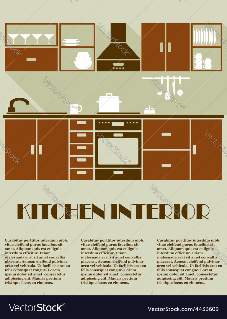 Modern brown kitchen interior design vector | Price: 1 Credit (USD $1)