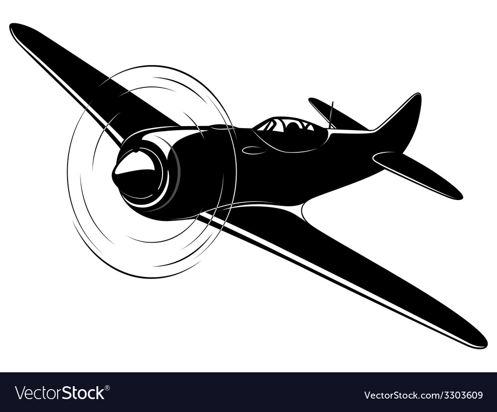 Old fighter airplane vector | Price: 1 Credit (USD $1)