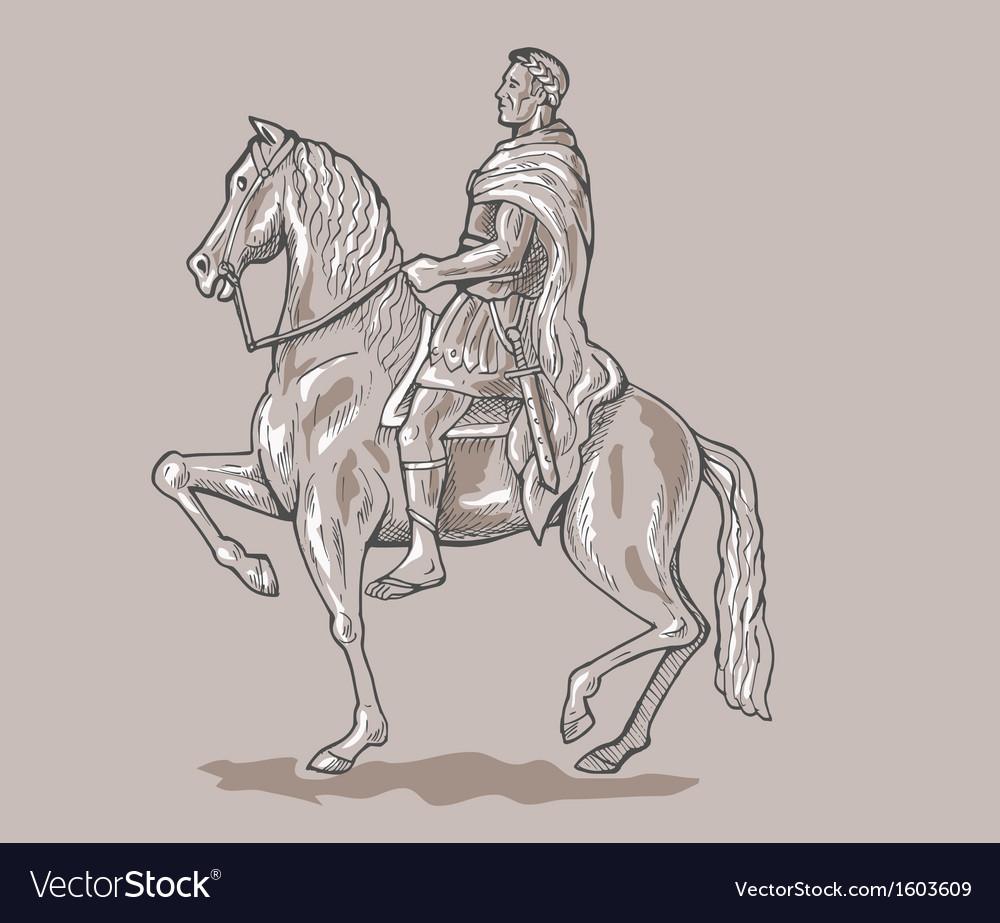 Roman emperor soldier riding horse vector | Price: 1 Credit (USD $1)