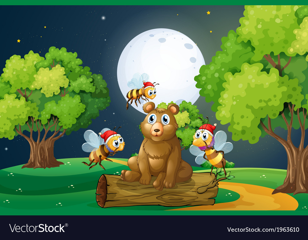 A bear above the log surrounded with santa bees vector | Price: 3 Credit (USD $3)