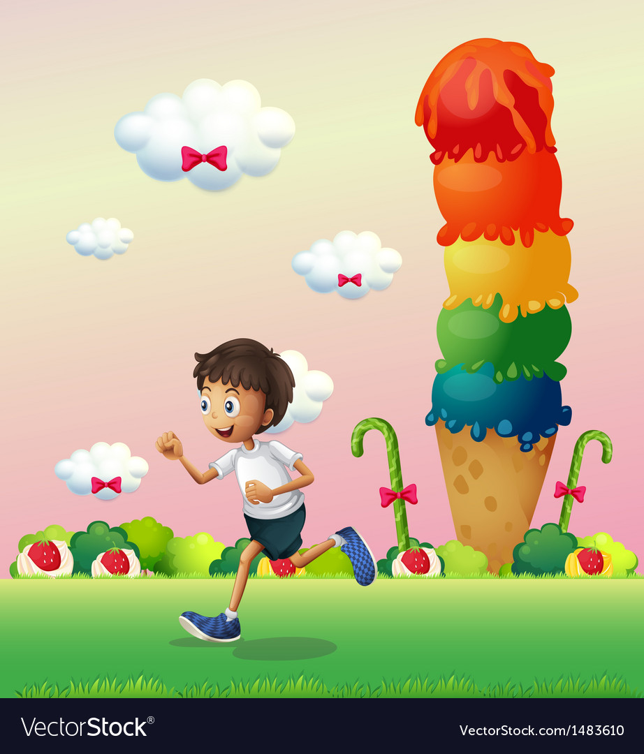 A boy in a land full of sweets vector | Price: 1 Credit (USD $1)