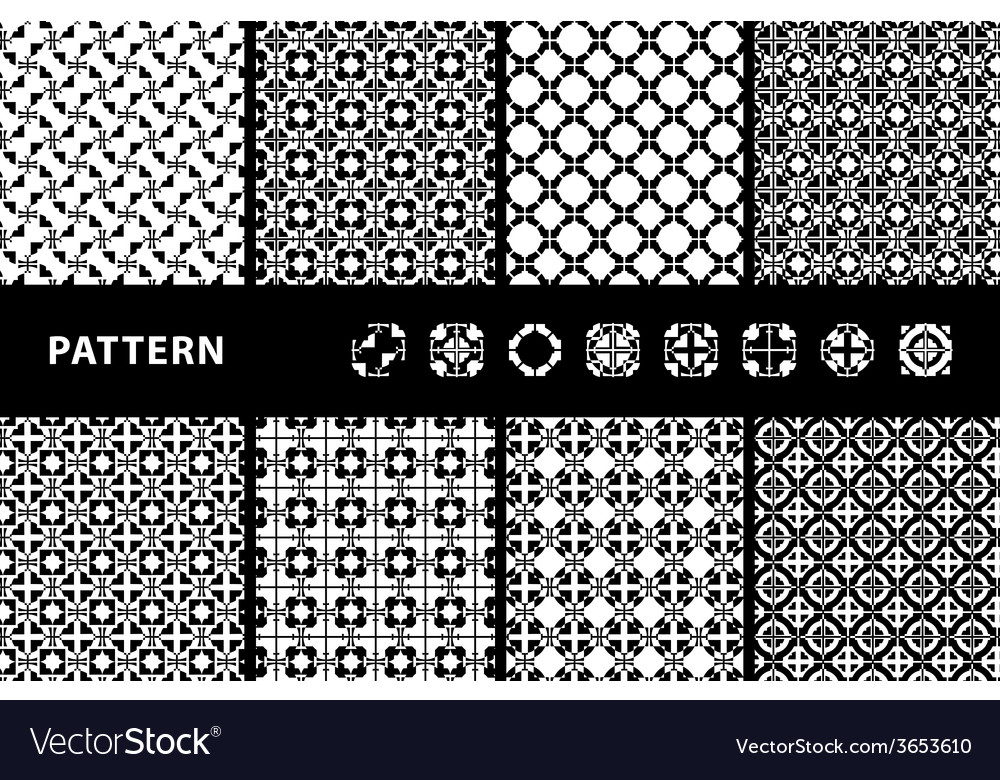 Black and white seamless patterns vector | Price: 1 Credit (USD $1)